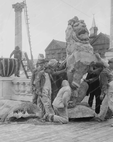Boys Admire Coney Island Lion Statue 8x10 Reprint Of Old  Photo