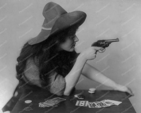 Cowgirl Pointing Gun At Card Table 8x10 Reprint Of Old Photo