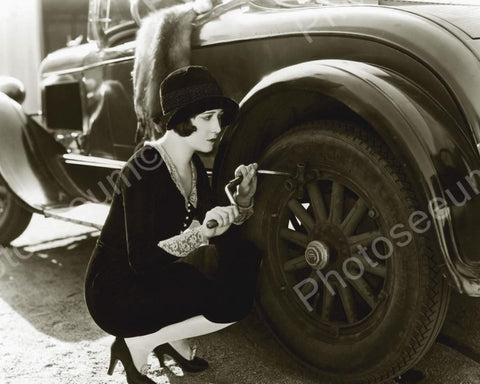 Wealthy Girl Tightening Car Wheel Vintage 8x10 Reprint Of Old Photo - Photoseeum