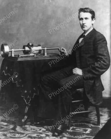 Thomas Edison With Phonograph 1878 8x10 Reprint Of Old Photo
