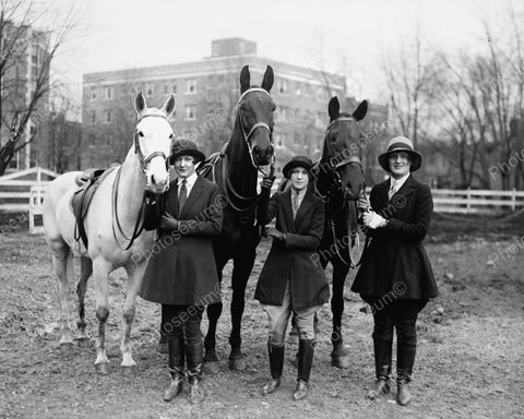 Equestrian Riders With Horses 1927 Vintage 8x10 Reprint Of Old Photo