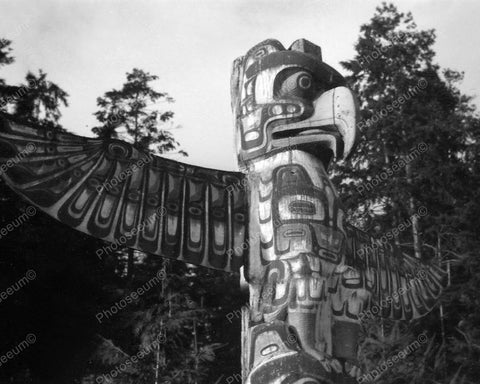 Totem Pole Vintage 8x10 Reprint Of Old Photo 1
