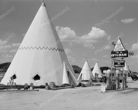 Eat And Sleep In A Wigwam Teepee 1940 Vintage 8x10 Reprint Of Old Photo - Photoseeum