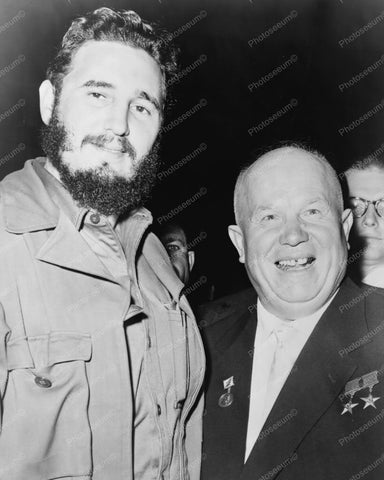 Castro And Khrushchev 8x10 Reprint Of Old Photo