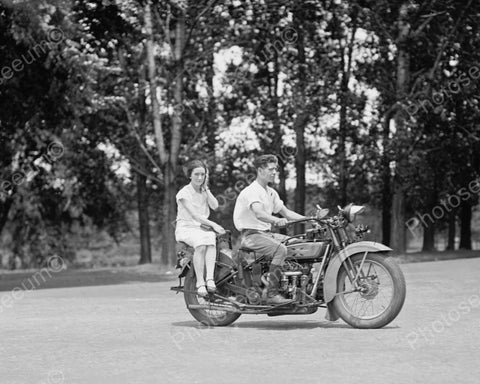 Young Couple Riding Excelsior Motorcycle 1920 Vintage 8x10 Reprint Of Old Photo
