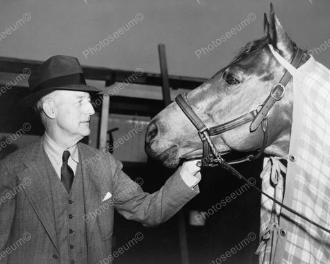 Charles S. Howard With Horse Seabiscuit 1940 Vintage 8x10 Reprint Of Old Photo