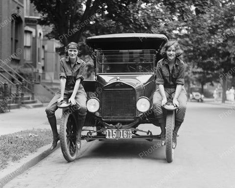 Girls Riding Car Fenders 1922 Vintage 8x10 Reprint Of Old Photo - Photoseeum