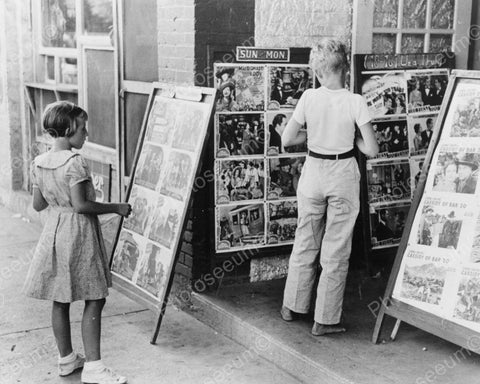Children Studying Lobby Cards At Move Theatre Vintage 8x10 Reprint Of Old Photo