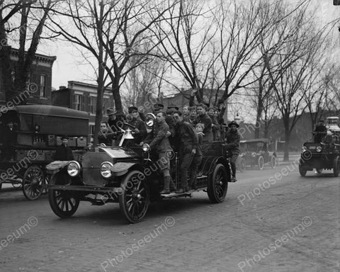 Boy Scouts Ride Truck At Fire Drill 1900 8x10 Reprint Of Old Photo