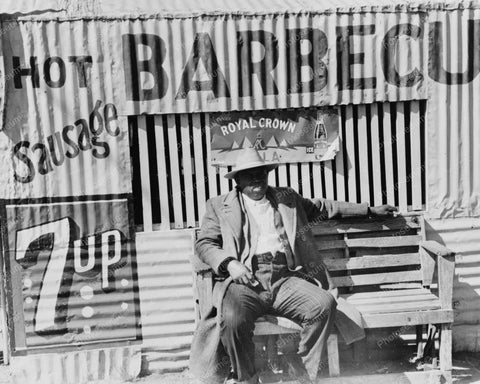 Black Man Sits On Bench At Barbecue Hut 8x10 Reprint Of Old Photo