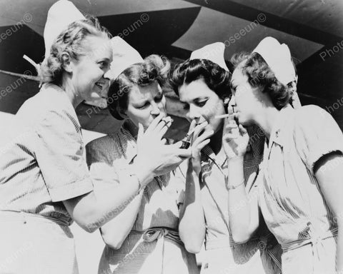 Nurses Smoke! Light Up Cigarettes Vintage 1940s Reprint  8x10 Old Photo