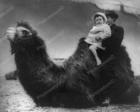Baby Girl & Father Take Camel Ride! 8x10 Reprint Of Old Photo