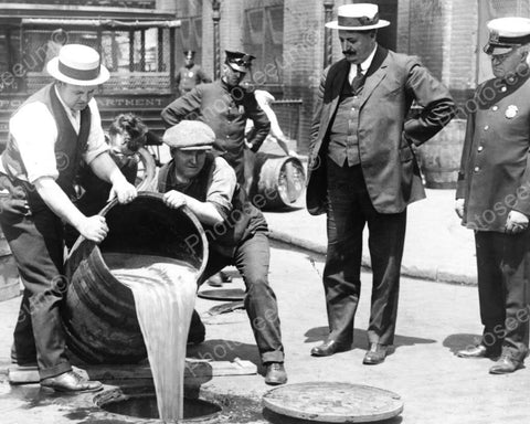 Prohibition Beer Barrel Poured In Sewer 8x10 Reprint Of Old Photo