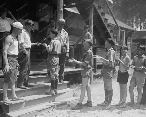 Boy Scouts Clean Hands Inspection 1920s 8x10 Reprint Of Old Photo