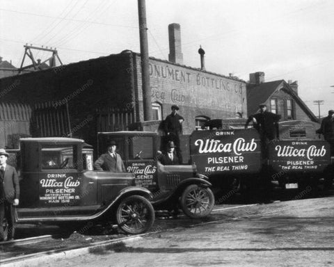 Drink Utica Club Trucks Vintage 8x10 Reprint Of Old Photo
