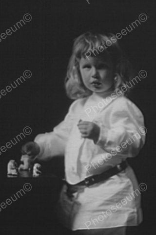 Cute Little Blond Girl Plays With Figures 4x6 Reprint Of Old Photo