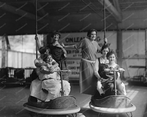 Glen Echo Bumper Car Riders Having Fun! Old 8x10 Reprint Of Photo