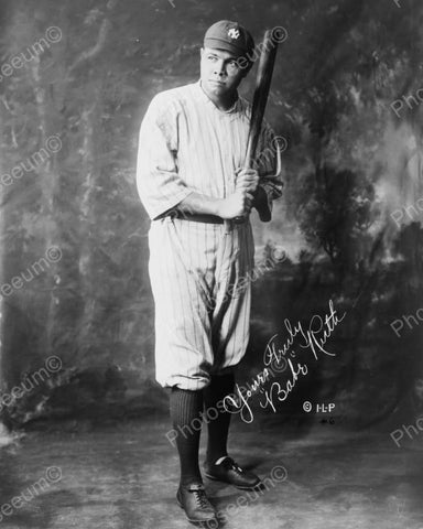 Babe Ruth In Uniform Holding Baseball Bat 1920 Vintage 8x10 Reprint Of Old Photo