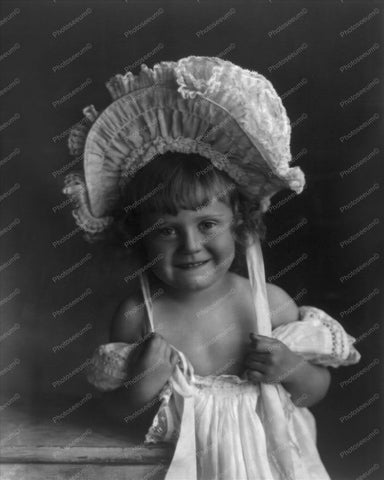 Victorian Girl In Bonnet 1900s Vintage 8x10 Reprint Of Old Photo - Photoseeum