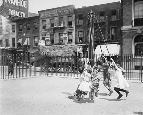 Children Playing On Maypole New York 8x10 Reprint Of Old Photo