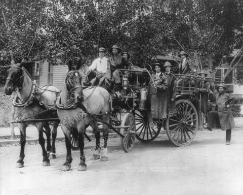 Firemen On Horse Drawn Fire Truck 1910s 8x10 Reprint Of Old Photo