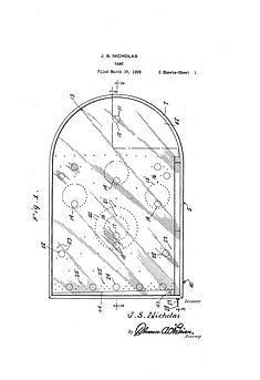 USA Patent Play Threes Bagatelle Pinball 1920's Drawings