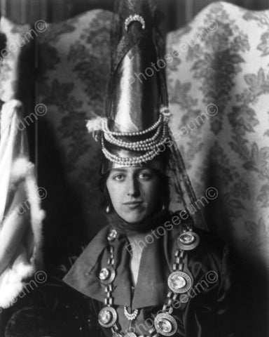 Lady In Vintage Tall Cone Hat 1900s 8x10 Reprint Of Old Photo