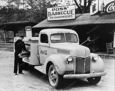 Coca Cola Delivery Truck Poss Barbecue Pit 1950's 8x10 Reprint Of Old Photo