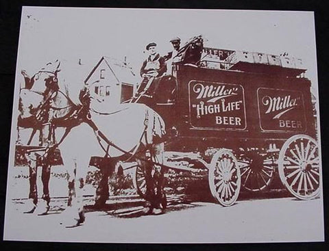 Miller High Life Beer Horse & Wagon Vintage Sepia Card Stock Photo 1920s