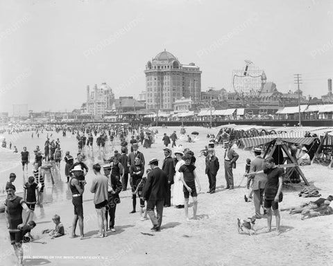 Bathers On The Beach Atlantic City 1908 Vintage 8x10 Reprint Of Old Photo