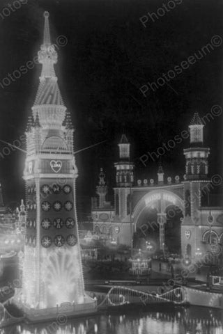 Coney Island Luna Park at Night 1900s 4x6 Reprint Of Old Photo