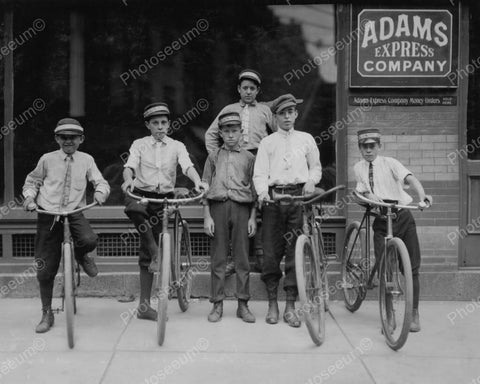 Adams Express Bicycle Couriers 1911 Vintage 8x10 Reprint Of Old Photo