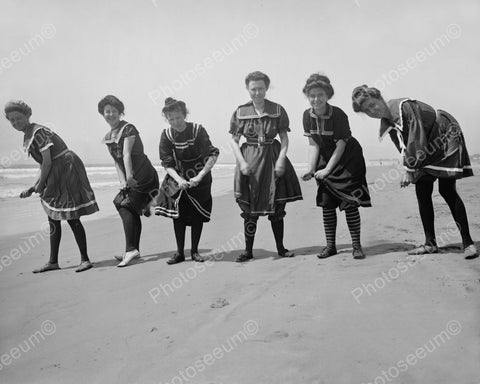 Women Wringing Out Their Bathing Suits 1905 Vintage 8x10 Reprint Of Old Photo