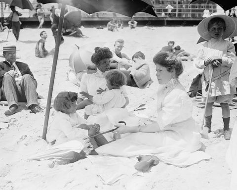 Asbury Beach Victorian Lady Bathers 8x10 Reprint Of Old Photo - Photoseeum