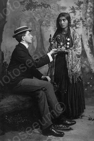 Gypsy Woman Reads Mans Palm 1900s 4x6 Reprint Of Old Photo