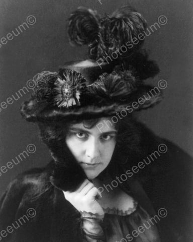 Victorian Lady In Black Plume Hat 1800s 8x10 Reprint Of Old Photo - Photoseeum