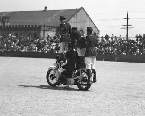 Four Man  Motorcycle Show 1937 Vintage 8x10 Reprint Of Old Photo