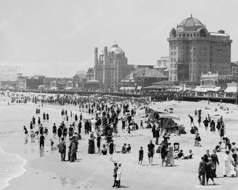 Crowds At Atlantic City Beach 1910 Vintage 8x10 Reprint Of Old Photo
