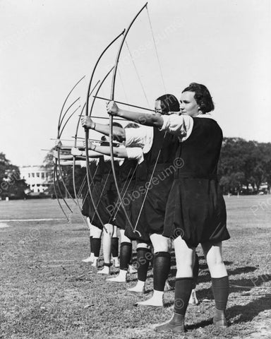 Archery Line Of Girls Aim Bow & Arrows Vintage 1900s Reprint 8x10 Old Photo