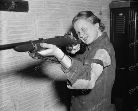 Woman Sharpshooter 1939 Vintage 8x10 Reprint Of Old Photo
