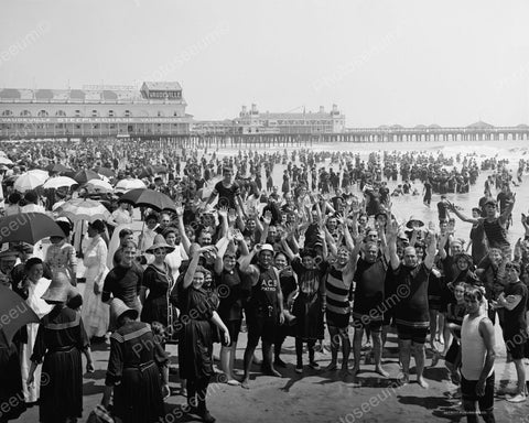 Beach Crowd Bathing Suits Atlantic City 1910 Vintage 8x10 Reprint Of Old Photo