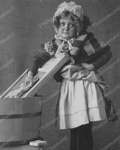 Victorian Little Girl W Bonnet Apron 8x10 Reprint Of Old Photo