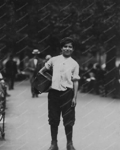 Bootblack Shoeshine Boy New York 1910 8x10 Reprint Of Old Photo