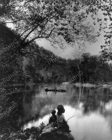 Children Daydream At Fishing Hole 8x10 Reprint Of Old Photo
