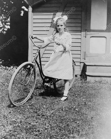 Girl With Vintage Bike 1920s Vintage 8x10 Reprint Of Old Photo