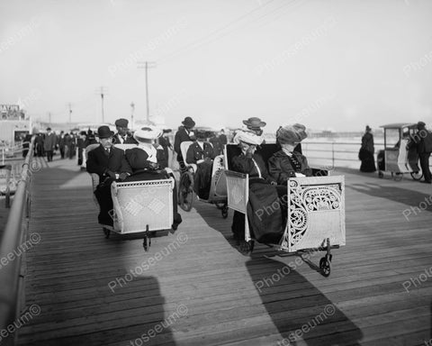 Atlantic City Tourist Push Carts 1910 Vintage 8x10 Reprint Of Old Photo