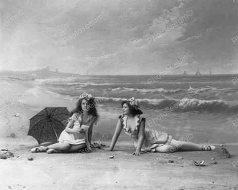 Beautiful Victorian Girls Pose At Beach 8x10 Reprint Of Old Photo - Photoseeum