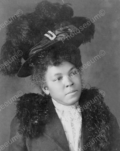 Black Lady In Majestic Feather Hat 1900s 8x10 Reprint Of Old Photo