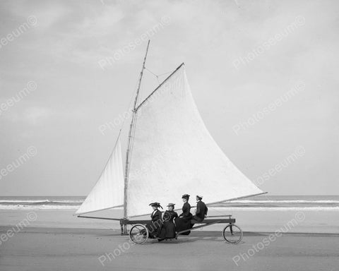 Beach Sand Sailing 1890 Vintage 8x10 Reprint Of Old Photo