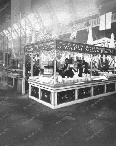 Warm Meal For 5 Cents Food Booth 8x10 Reprint Of Old Photo